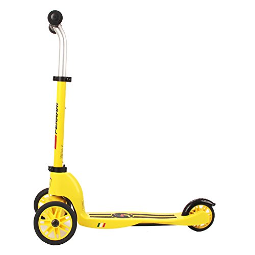 Ferrari Kids 125mm 2-Wheels Mutifunction Kick Scooter Two in One Yellow