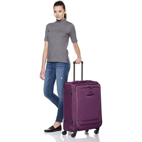 AmazonBasics Premium Expandable Softside Spinner Luggage With TSA Lock- 25 Inch, Purple by AmazonBasics (Image #3)