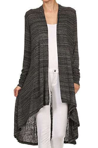 ReneeC. Women's Open Front Lightweight Draped Office Cardigan - Made in USA (Small, Black)
