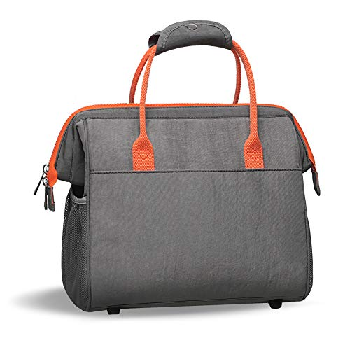 Insulated Lunch Bag Waterproof & Wide-Open Lunch Tote Bags for Women Men Adults Work Picnic Hiking Beach Fishing Travel, Grey & Orange
