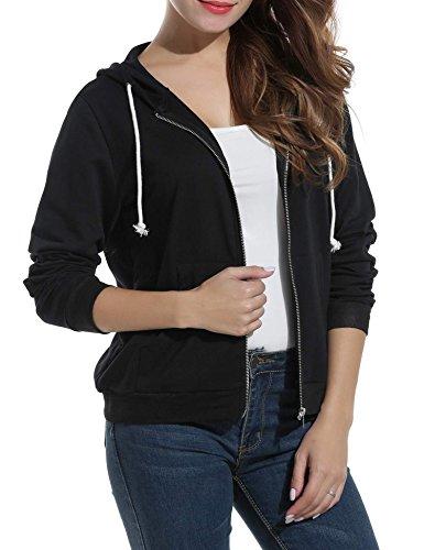 ELESOL Womens Long Sleeve Casual Zip-Up Hoodie Jacket Lightweight Sweatshirt