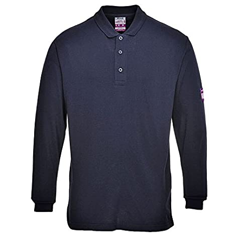 Portwest UFR10NAR4XL Regular Fit Flame-Resistant Anti-Static Long Sleeve Polo Shirt 4X-Large Navy