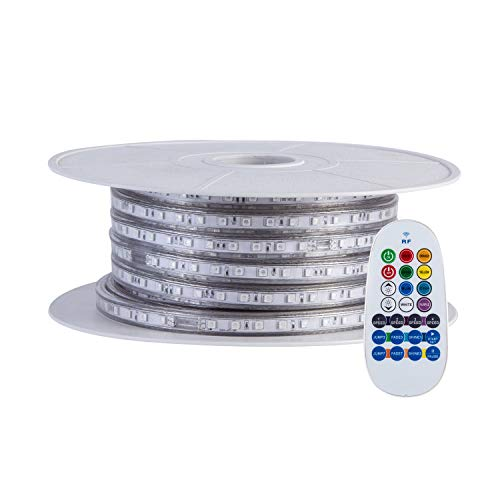 GuoTonG 65.6ft/20m Dimmable Strip Lights, Flexible RGB 1200 LEDs, 110V, 4 Wires, Waterproof, Connectable, Power Plug Built-in Fuse Design, Radio Frequency Controller ()