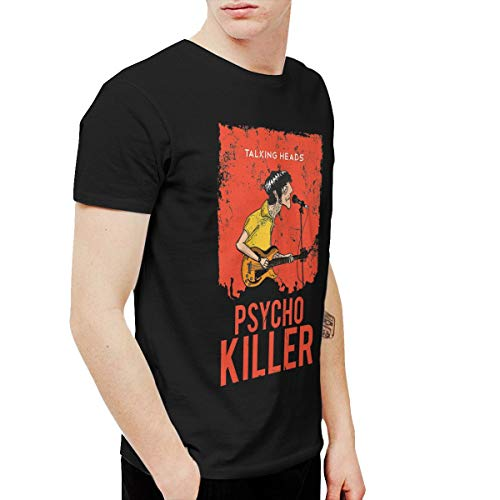 Amerltees Men's Talking Heads Psycho Killer Short Sleeve T-Shirt Black L ()