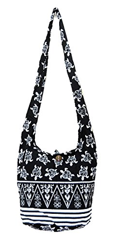 Thai Hippie Hobo Sling Crossbody Shoulder Bag Purse Handmade Zip Black Turtle Cotton Gypsy Boho Messenger - Purses Turtle