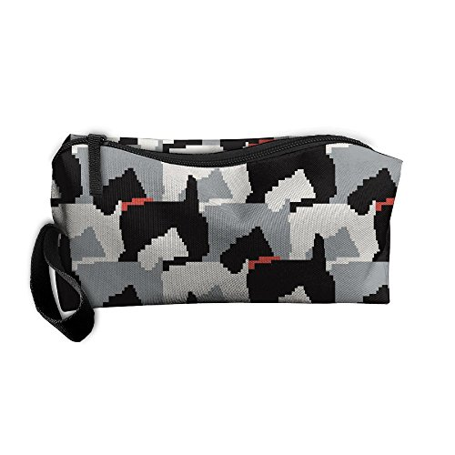 (YangQxio Black Scottie Dogs Portable Cosmetic Makeup Bag Waterproof Makeup Cosmetic Brush Organizer Zipper Organizer Travel Set Tote Bag)