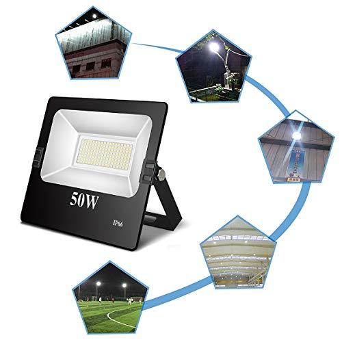 TOPLANET 50w Faretto Led Proiettore Lampada Esterno LED Floodlight Super luminosa 6500K Impermeabile IP66 Luce Bianca Giardino Illuminazione