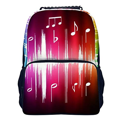 COLORFULSKY Jumping Musical Notes Backpack Daypack, Fashion Lightweight Felt fabric Daypacks£¬ School Travel & Camping Backpack Casual Daypacks for Men Women Youth ()