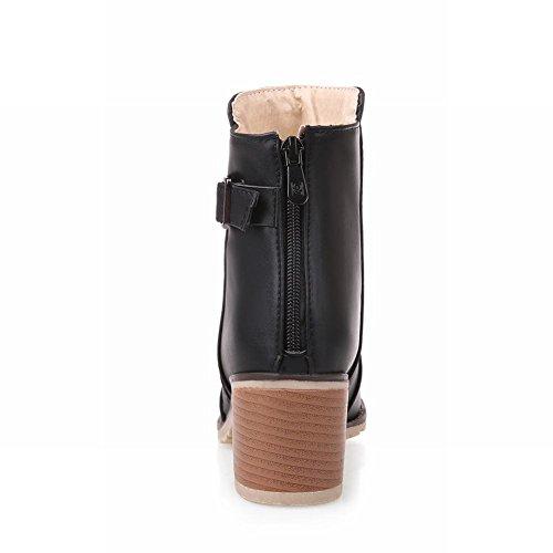 Draag Damesmode Rits Gesp Leuk Schattig Comfort Mooie Medio Stevige Hak Korte Laarzen Zwart