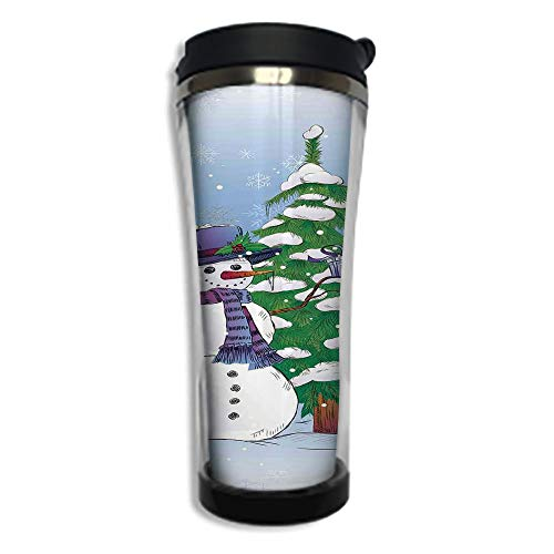 Stainless Steel Insulated Coffee Travel Mug,Spill Proof Flip Lid Insulated Coffee cup Keeps Hot or Cold 8.45 OZ(250 ml)Customizable printing byChristmas Decorations,Snowman in Winter with Mistletoe Gi]()