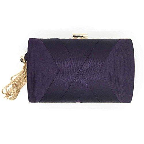 Rising Bridal Purse Party Handmade Satin Silver ON Messenger Gold Evening Purple Lady Bag Clutch Wedding Elegant Silk Tassels BSvBw18rq