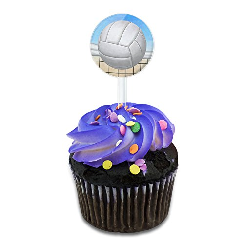 Sporty Volleyball Cake Cupcake Toppers Picks Set