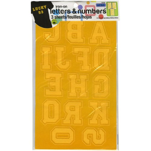 Dritz 15555 Iron-on Letters & Numbers, Soft Flock, Collegiate, 1-3/4-Inch, Gold (3-Sheets)