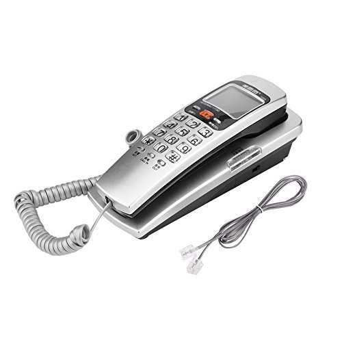 FSK/DTMF Wall Mounted Telephone Caller ID Telephone Corded Landline Extension Telephone(Silver) by Zerone