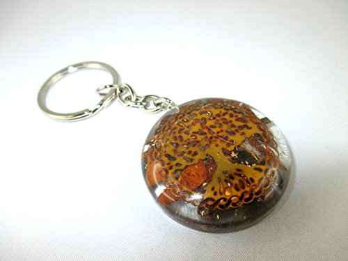 Orgone Key chain - HiJet Beautiful Tiger eye Tree of life Orgonite Key Ring Orgone Generator Balancing Positive Energy Harmony Luck Yoga Meditation Reiki Natural Genuine Authentic Fashion Style