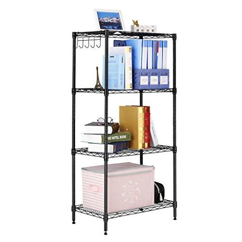 (SHELVING UNIT 4 BLACK) LANGRIA 4 Tier All-Metal Modern Storage Organization Rack and Shelving Unit, Adjustable Leveling Feet, 220 lbs. Weight Capacity, Black
