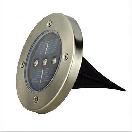 3 LED Lámpara Luz de Enterrado Manera Decoración Jardín Energía Solar - Blanco Cálido: Amazon.es: Hogar
