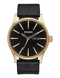 Nixon Sentry Leather Watch Gold/ Black Gator