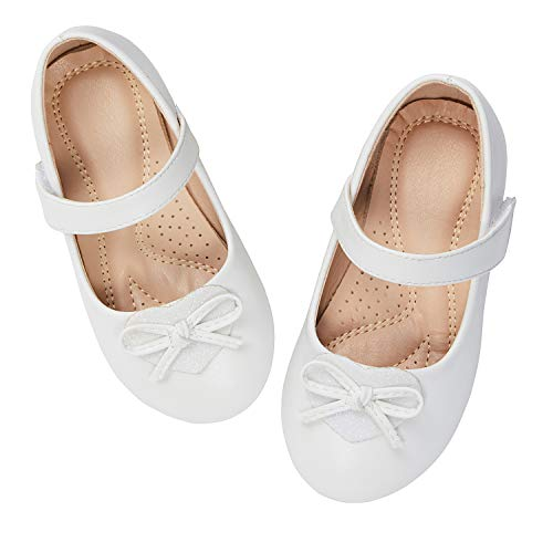 ADAMUMU Dream Toddler Girls Dress Shoes Ballet Flats Flower Girls Shoes Glitter Shoes Party School Dress Shoes Even Daily Wear, B-white, 10M US Toddler?177mm