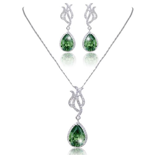EVER FAITH Art Deco Tear Drop CZ Necklace Earrings Set Silver-Tone Emerald Color May Birthstone