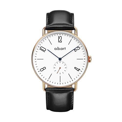 a.b.art Watches for Men FN41-001-1L Sapphire Crystal Bauhaus Style Men's Watches (Lido Black)