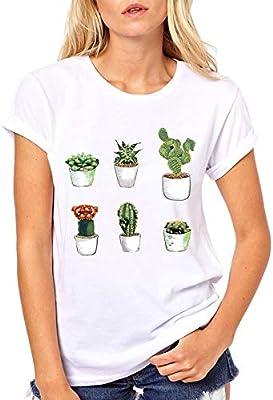 ZCYTIM Camisa de Mujer Streetwear Cactus Pug Camisa de fusión Harajuku Camisa gráfica Tendencias Camisetas: Amazon.es: Deportes y aire libre