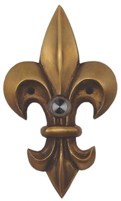 Waterwood Solid Brass Large Fleur De Lis Doorbell in Antique Brass