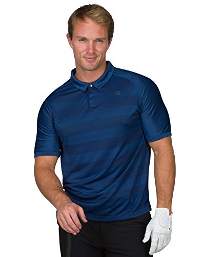 Three Sixty Six Golf Polo Shirts for Men - Dry Fit Collared Golf Polos - Lightweight and Breathable, Stripe Design Deep Navy