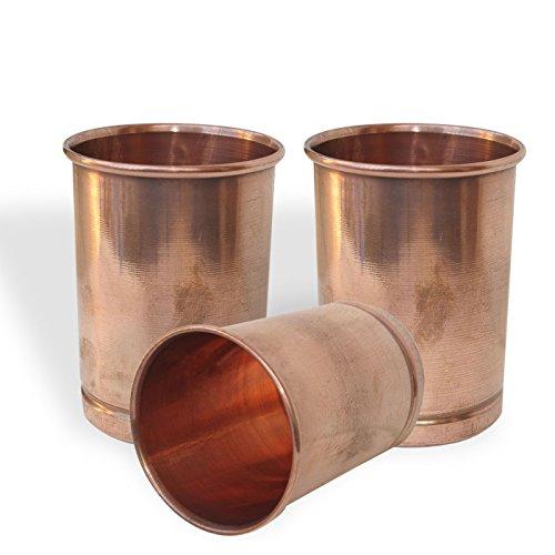 Prisha India Copper Glass Drinkware Asian Kitchen Accessory,Set of 3 Glasses