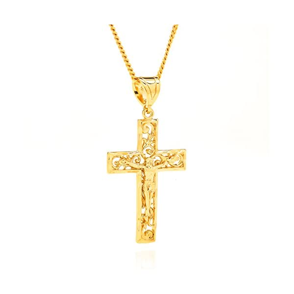 Beautiful-Filigree-Crucifix-Pendant-with-20-Necklace-Made-of-Real-24K-Gold-over-Semi-Precious-Metals-Thick-Layers-Help-It-Resist-Tarnishing-100-FREE-LIFETIME-REPLACEMENT-GUARANTEE