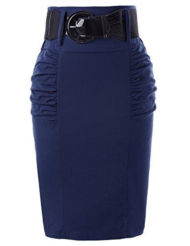 Belle Poque Women High Waist Wear to Work Soft Pencil Skirt Navy Blue Size L KK271-8