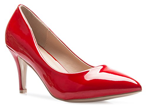 ssic D'orsay Closed Toe Mid Stiletto Heel Pump | Dress, Work, Party Low Heeled Pumps | high Casual Comfortable Sale (Red Patent Pumps)