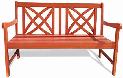 Vifah Siesta Red Brown 4Ft Magnolia Eucalyptus Wooden Garden Bench