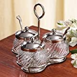 3 PIECE JAM SET - 3 PIECE JAM SET WITH SPOONS AND COVERS - crystal jam dish