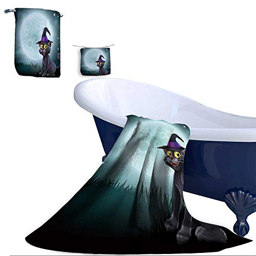 Home 3 Piece Bath Towel Set, of a Halloween Witch cat in a Pointy hat in Front of a Big Full Moon on a Misty Night Material - 100% Microfiber,Ideal -