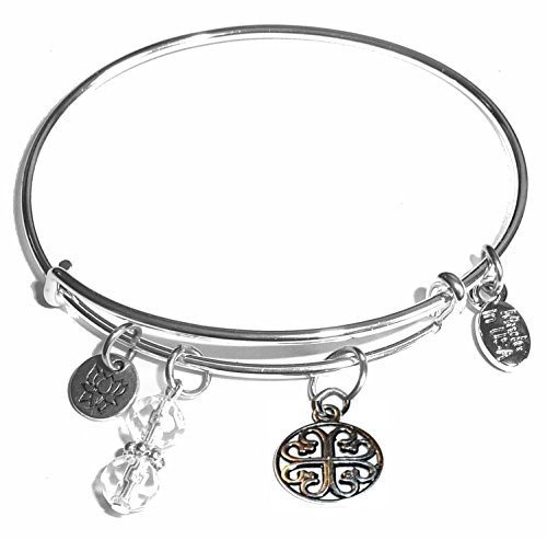 Message Charm (46 words to choose from) Expandable Wire Bangle Bracelet, in the popular style, COMES IN A GIFT BOX! (Cool Design)