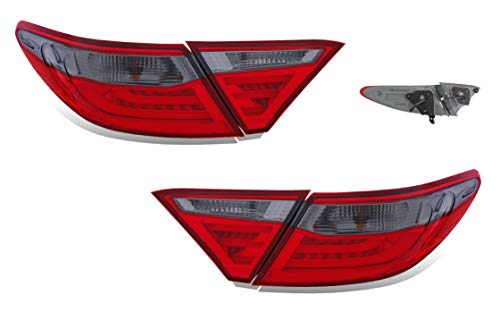 SPPC LED Taillight 4 Pcs Red/Smoke Assembly Set For Toyota Camry (Pair) Driver Left and Passenger Right Side Replacement ()