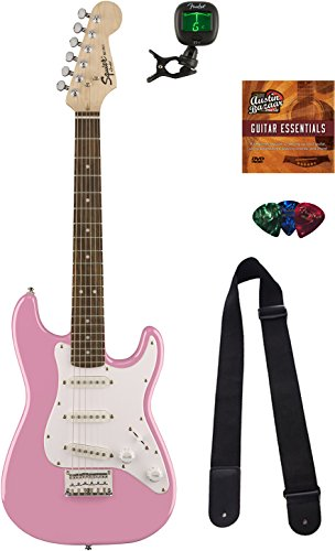 - Squier by Fender Mini Strat Electric Guitar - Pink Bundle with Tuner, Strap, Picks, Austin Bazaar Instructional DVD, and Polishing Cloth