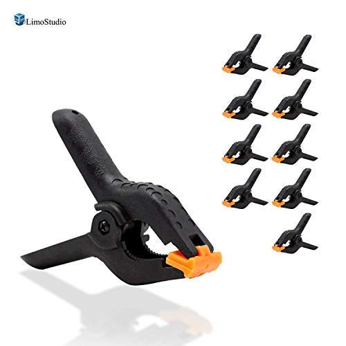 LimoStudio 10-Pack Adjustable Heavy Duty Spring Black Clamps 4.5 inch Length for Photo Studio Backdrop Muslin, Camera Flash Brackets, Photo Backdrop Background Support Equipment, AGG2416 ()
