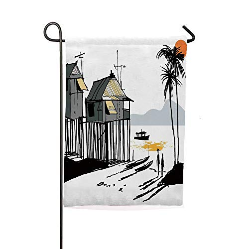 Garden Banner Outdoor Flag Flags,Village Malay in Singapore with Houses Canoe Palms,Holiday Decorations Outdoor Garden Decoration Digital Printing Flag -