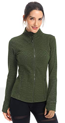 QUEENIEKE Women's Sports Define Jacket Slim Fit and Cottony-Soft Handfeel Size XXS Color Army Green - Gold Spider Web