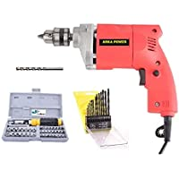 Inditrust 350W Electric Drill Machine with 13-Pieces HSS, 1 Masonry Bit and 41 Pieces Tool Kit Screwdriver and Socket Set