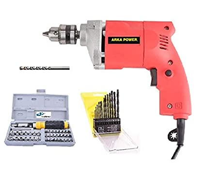 Inditrust 350W Arka Power Electric Drill Machine with 13-Pieces HSS, 1 Masonry Bit and 41 Pieces Tool Kit Screwdriver and Socket Set