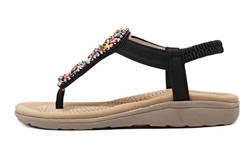 Flip tom Plano Mujeres Zapatos Tacón Negro Mine Flops Bohemio Estilo Muchachas Zapatos Sandalias Playa Verano Romanos PgddUqAwx