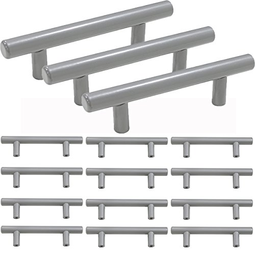 - Probrico Solid Stainless Steel 3 Inch Center to Center Kitchen Drawer Cabinet Handles Pulls, Grey Finish- 15Pack