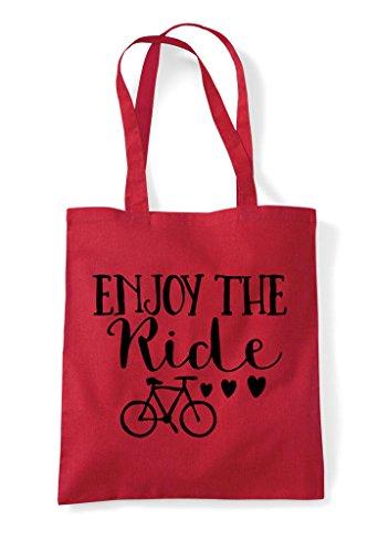 Bag Shopper Tote Enjoy Bicycle Red The Ride q7Iq8xXtw