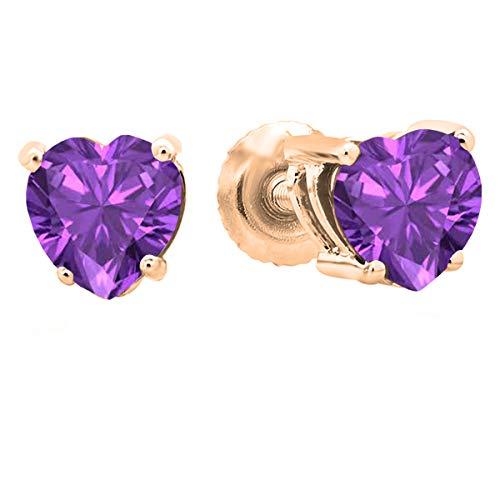 Dazzlingrock Collection 18K 5 MM Each Heart Amethyst Ladies Stud Earrings, Rose Gold