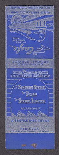 Missouri Pacific Lines Eagle Sunshine Special Texan Scenic Ltd matchcover proof