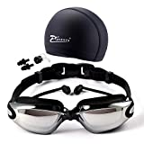 Urpart Swim Goggles, Swimming Goggles Anti Fog UV Protection No Leaking with Free Protection Case for Adult Men Women Youth Kids Child Swim Set with Swim Cap, Nose Clip, Earplugs