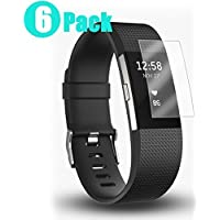 Elobeth for Fitbit Charge 2 Screen Protector[6 Pack], Screen Protector for Fitbit Charge 2 Anti-Bubble Full Coverage HD Clear Proof Charge 2 Protector Film Replacement Warranty with Free Lifetime